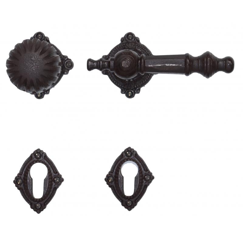 Türbeschläge im Gründerzeit-Stil Türknauf mit Klinke für Haustür mit PZ-Rosette